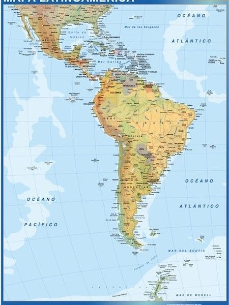 latin america wall map