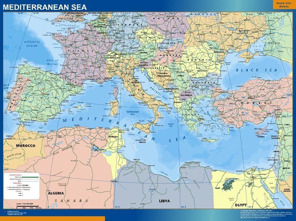 mediterranean sea countries wall map | Digital Maps. Netmaps UK ...