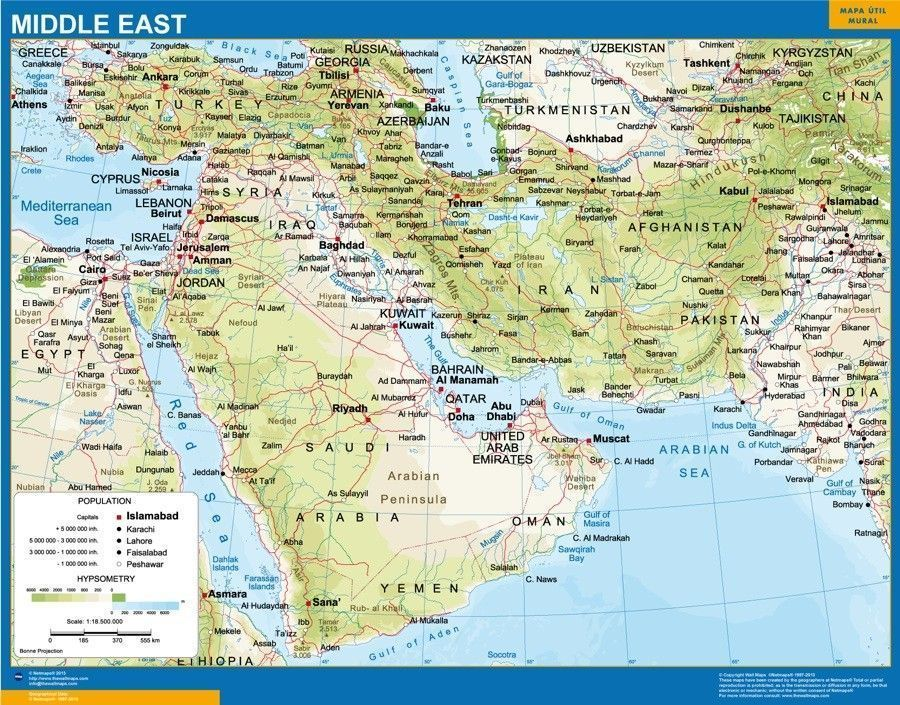 Map Of East Uk.Middle East Wall Map