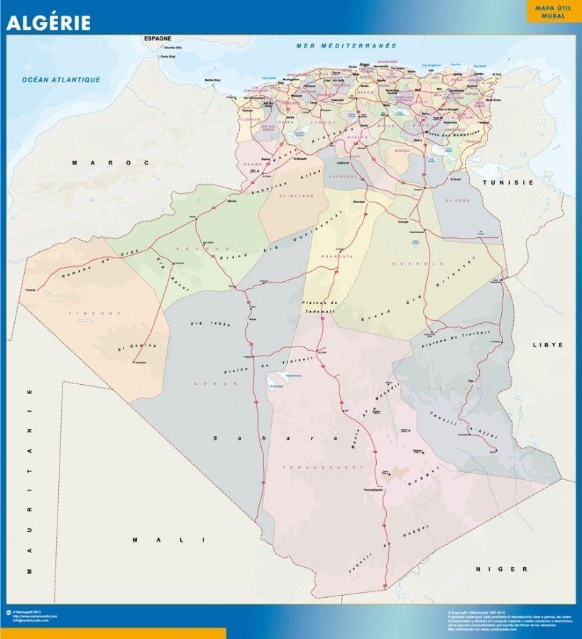 wall map algeria