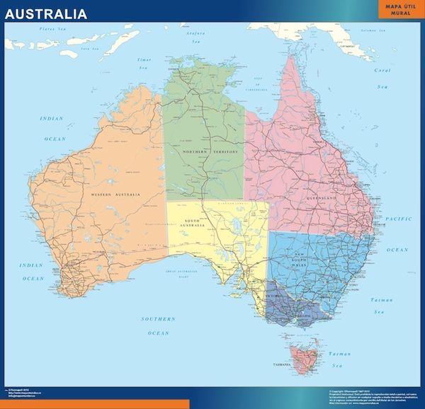 wall map australia