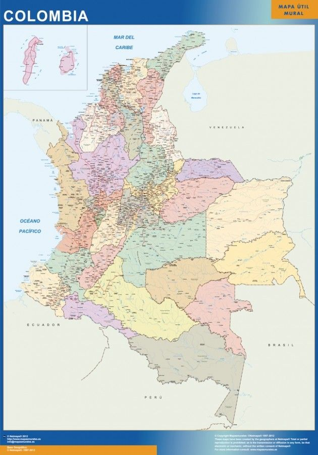 wall map colombia