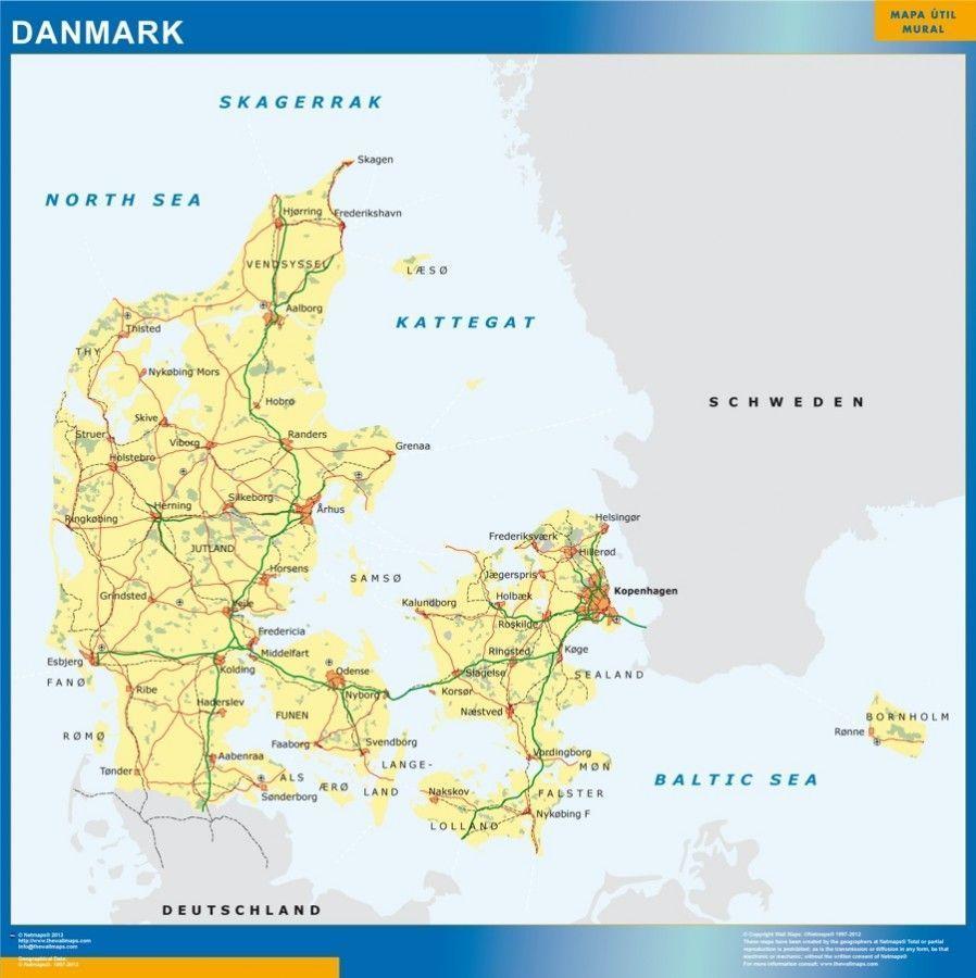 wall map denmark