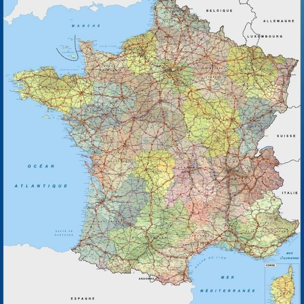 wall map france