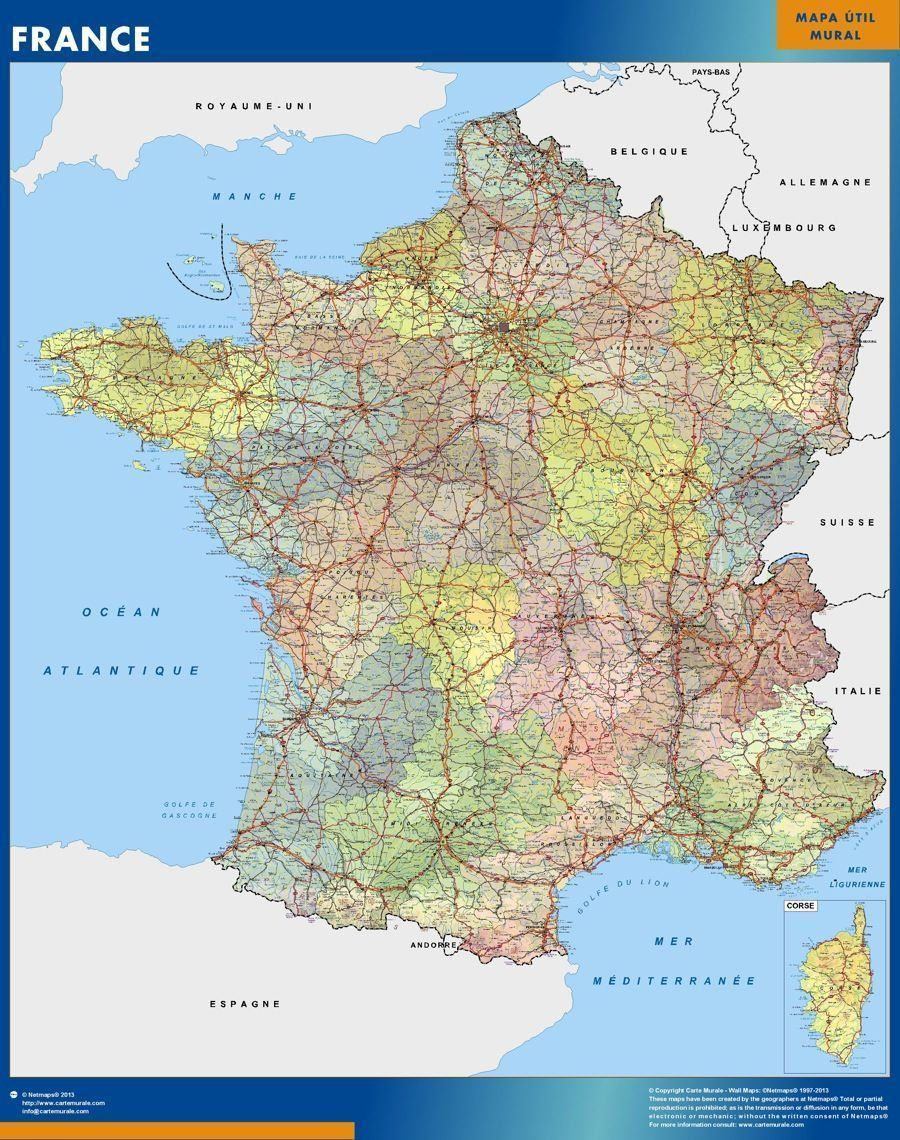 Map Of Uk France.Wall Map France