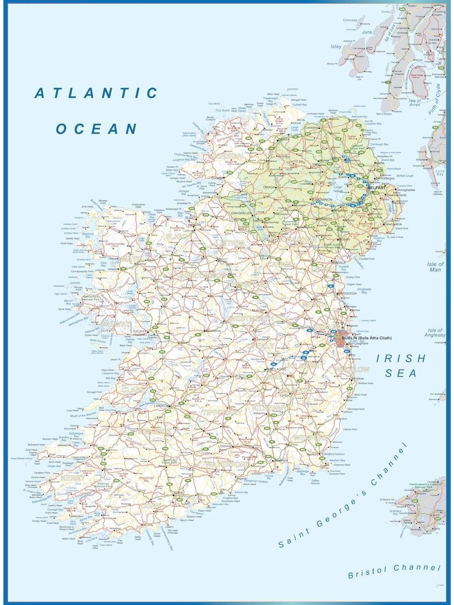 High Quality Map Of Ireland.Wall Map Ireland