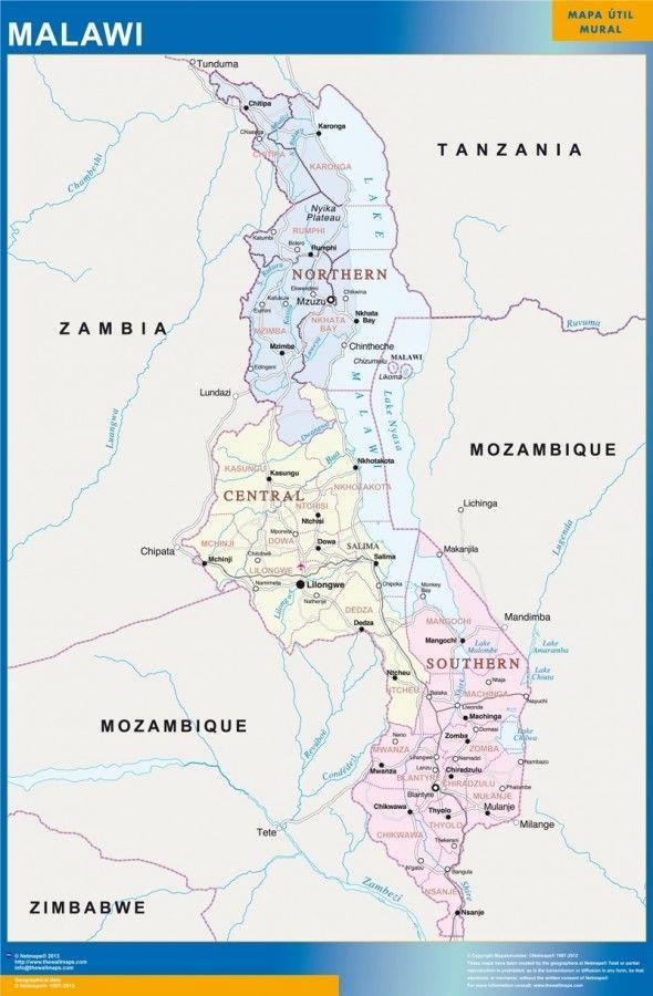 wall map malawi