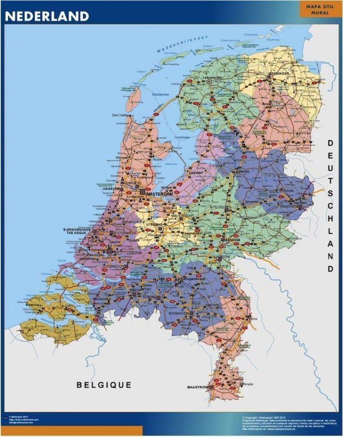 wall map netherlands