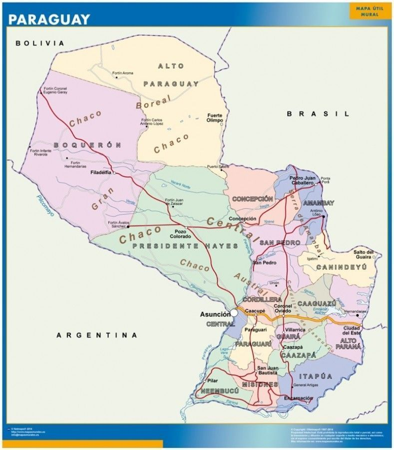 wall map paraguay