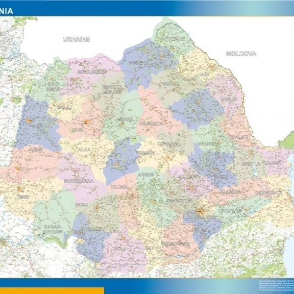 wall map romania