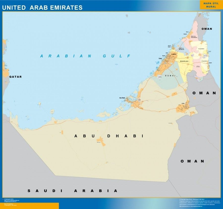 wall map united arab emirates