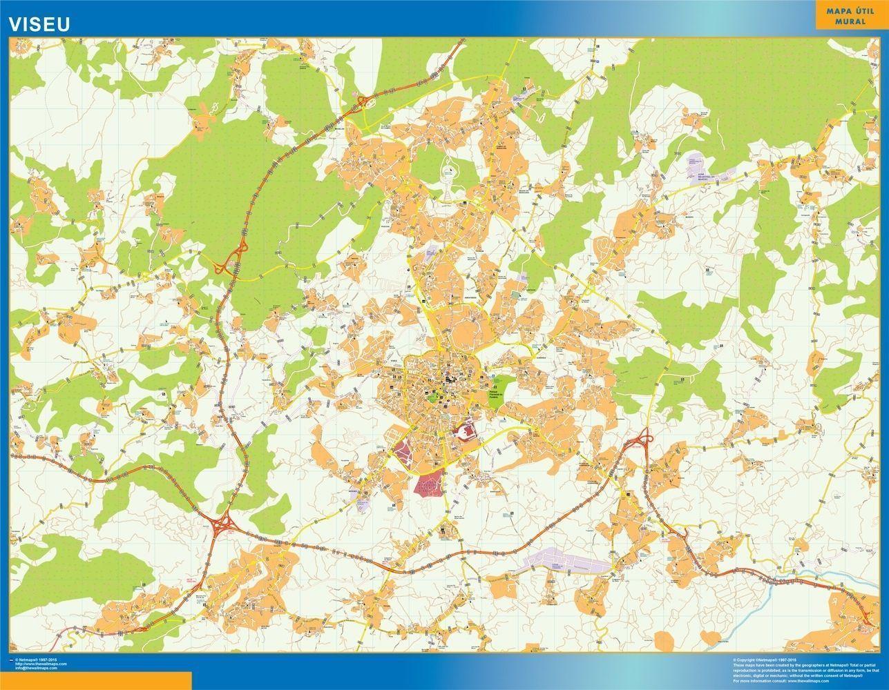 Viseu Mapa Digital Maps Netmaps Uk Vector Eps Wall Maps