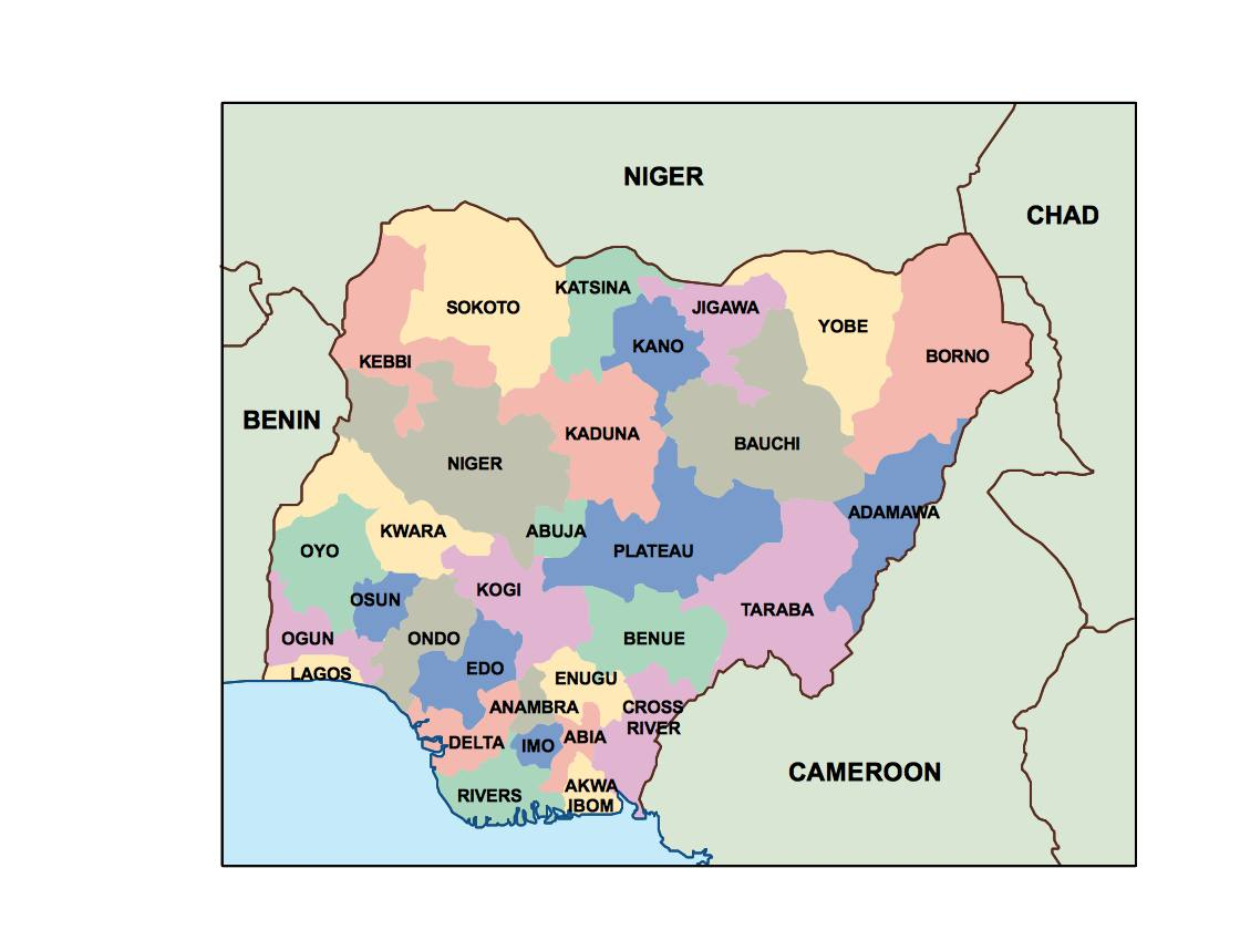 Nigeria Maps | Vector and Wall Maps From United Kingdom