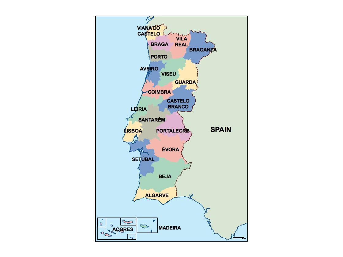 Portugal Maps DigitalMapscouk By Netmaps Vector Wall Maps - Portugal map english
