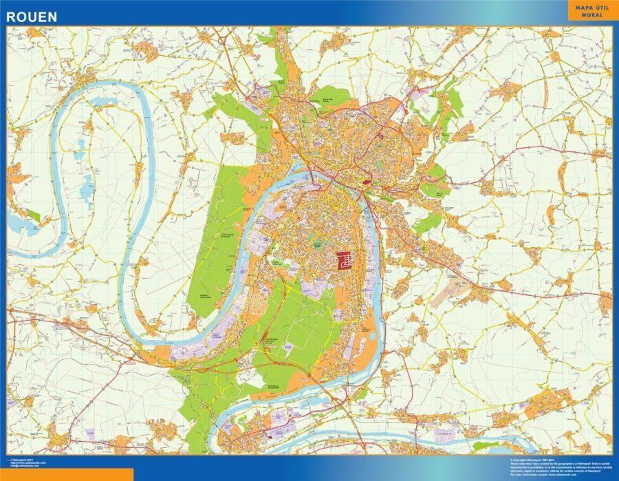 rouen wall map