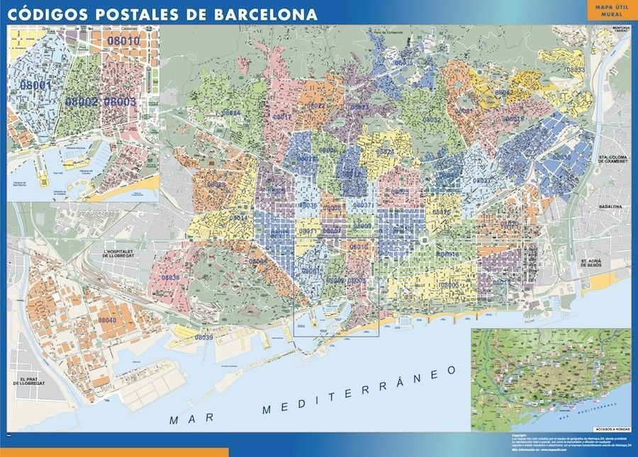 Barcelona Codigos Postales mapa magnetico