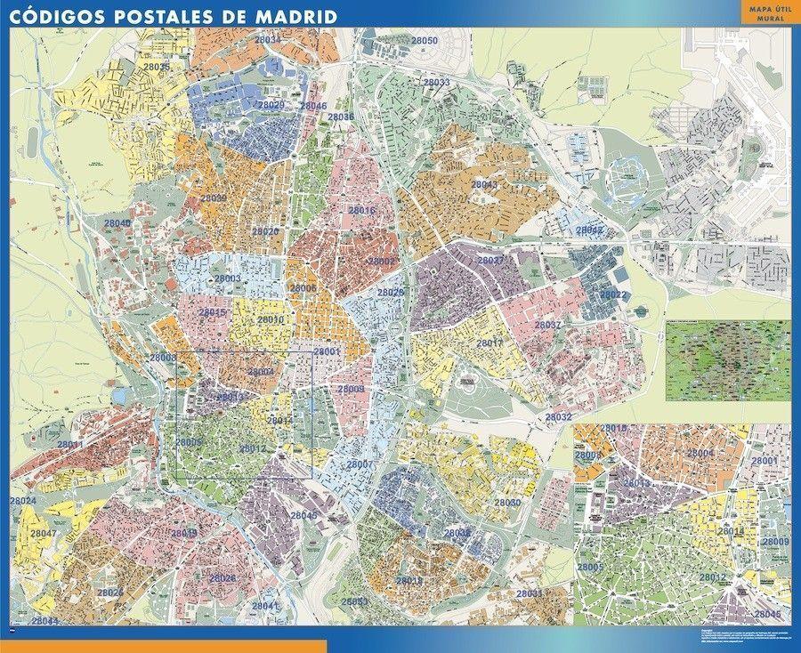 Madrid Codigos Postales mapa magnetico