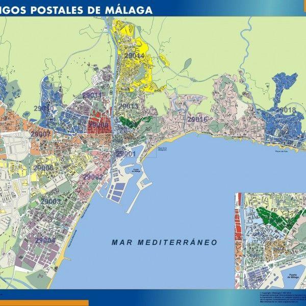 Malaga Codigos Postales mapa magnetico