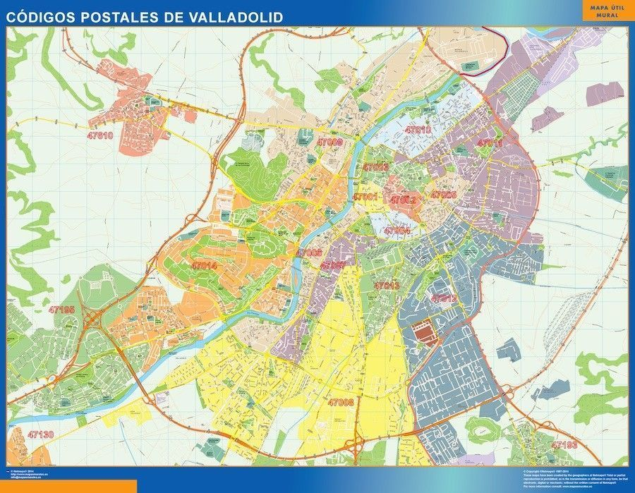Valladolid Codigos Postales mapa magnetico