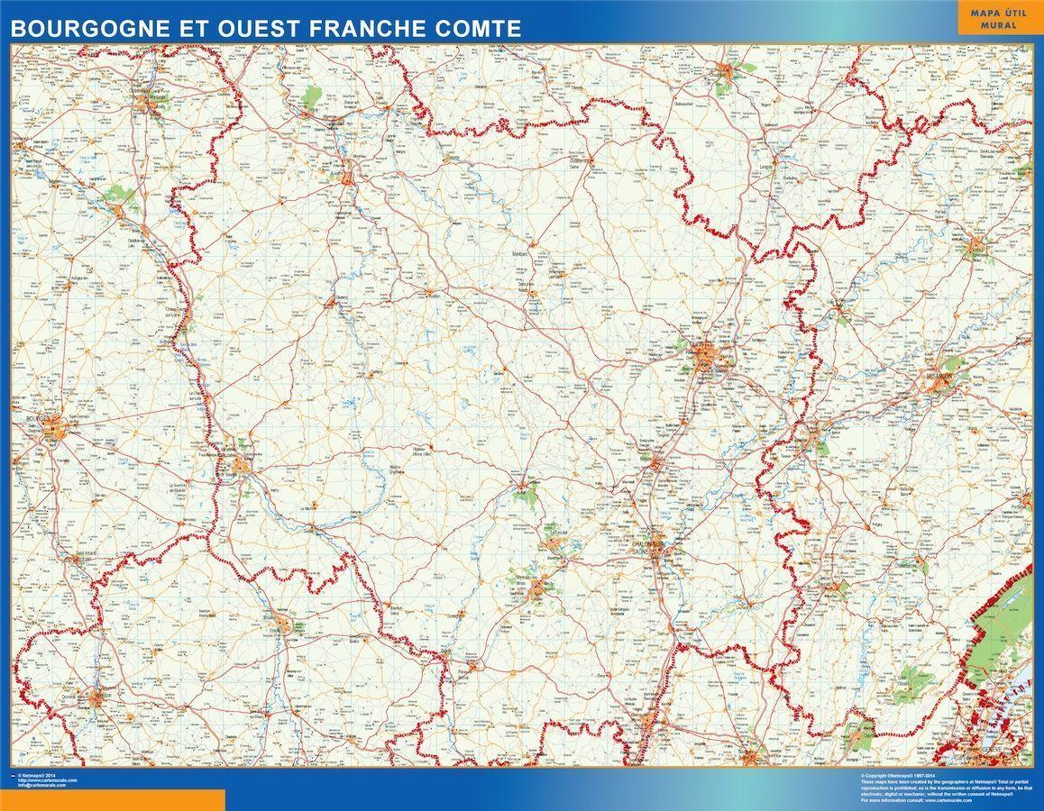 Carte Bourgogne Michelin.Carte Magnetique Bourgogne Franche Comte