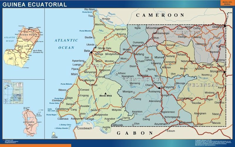 equatorial guinea framed maps