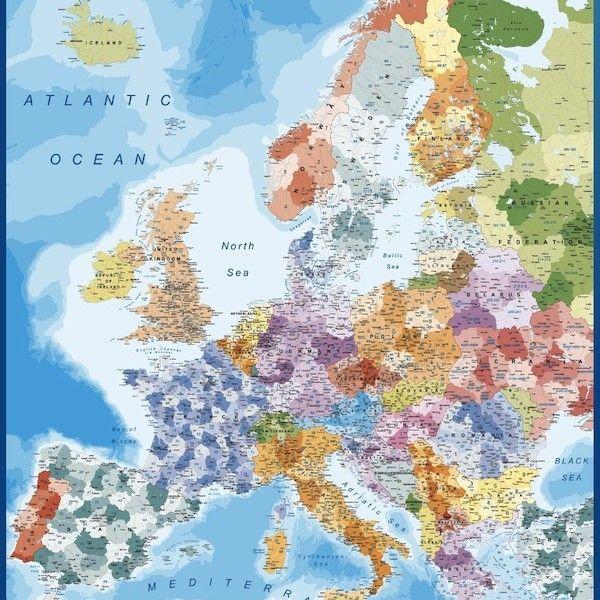 europe postal codes framed map