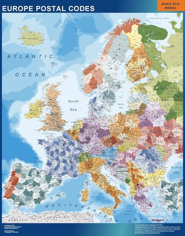 europe postal codes magnetic map
