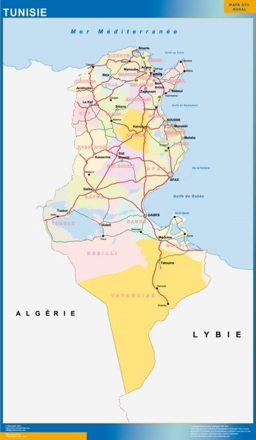 Magnetic Map Tunis Digital Maps Netmaps Uk Vector Eps Wall Maps