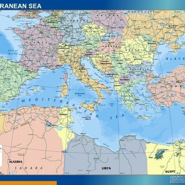 mediterranean sea countries vinyl sticker map