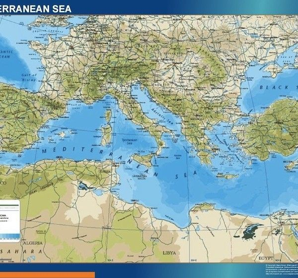 mediterranean vinyl sticker map