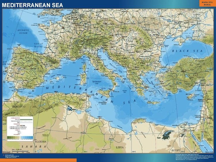 mediterranean vinyl sticker map