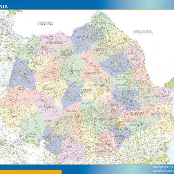 romania framed maps