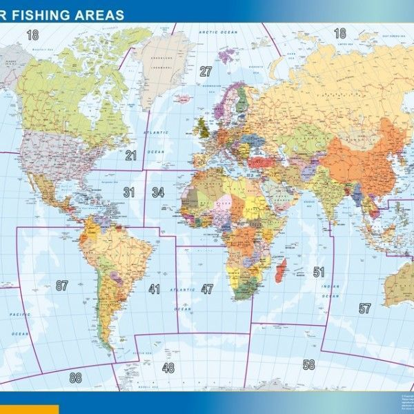 world framed map fao fishing areas