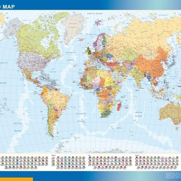 world framed map flags