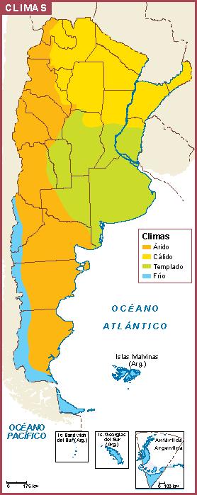 Argentina mapa clima