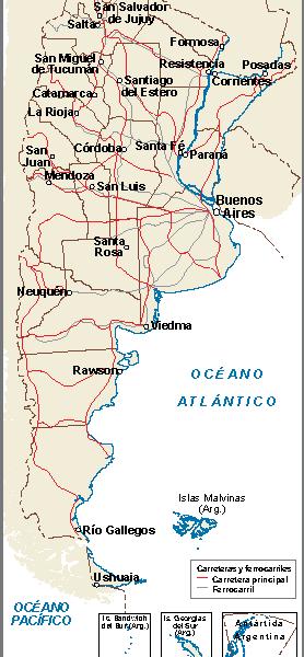 Argentina mapa comunicaciones terrestres