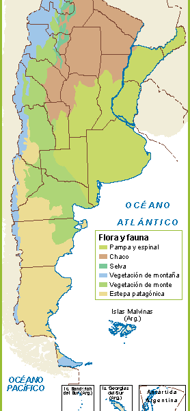 Argentina mapa flora fauna