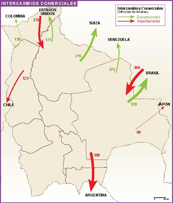 Bolivia mapa comercial