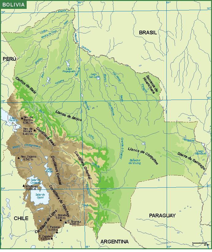 Bolivia mapa fisico
