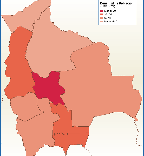 Bolivia mapa poblacion