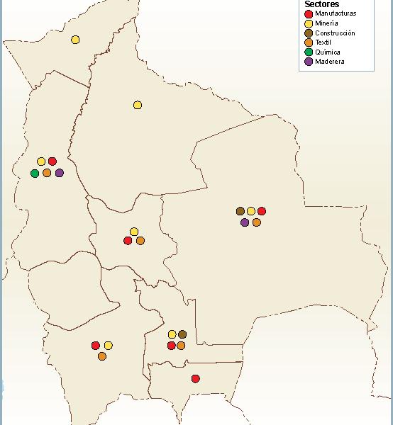 Bolivia mapa sector secundario