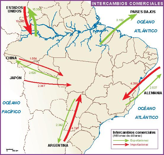 Brasil mapa intercambio comercial