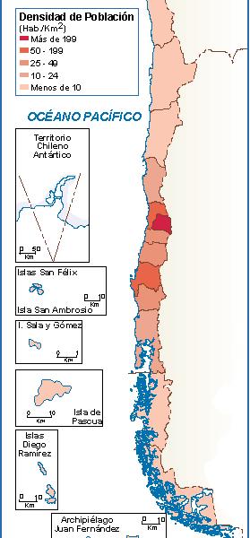 Chile mapa poblacion