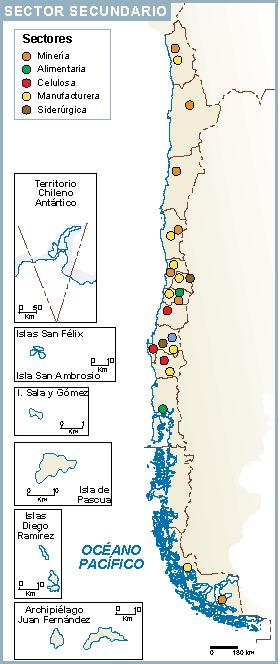 Chile mapa sector secundario