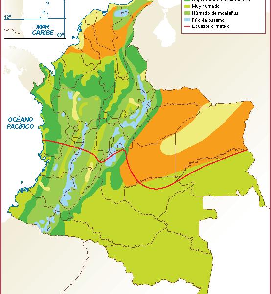 Colombia mapa clima
