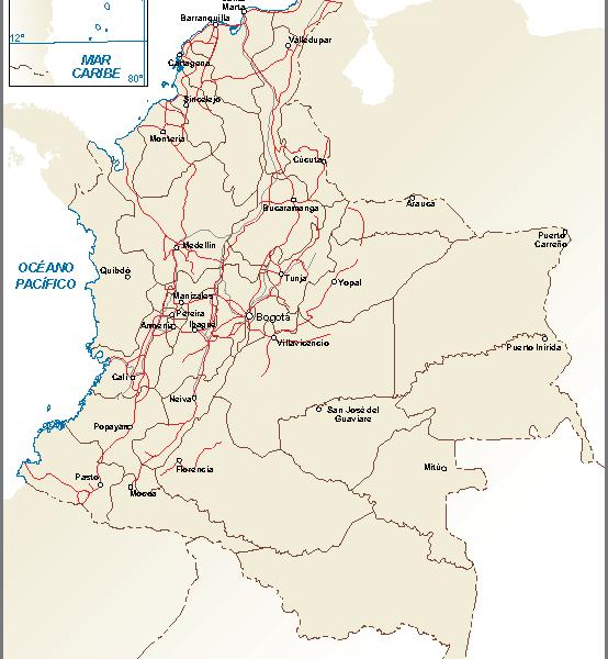 Colombia mapa comunicaciones terrestres