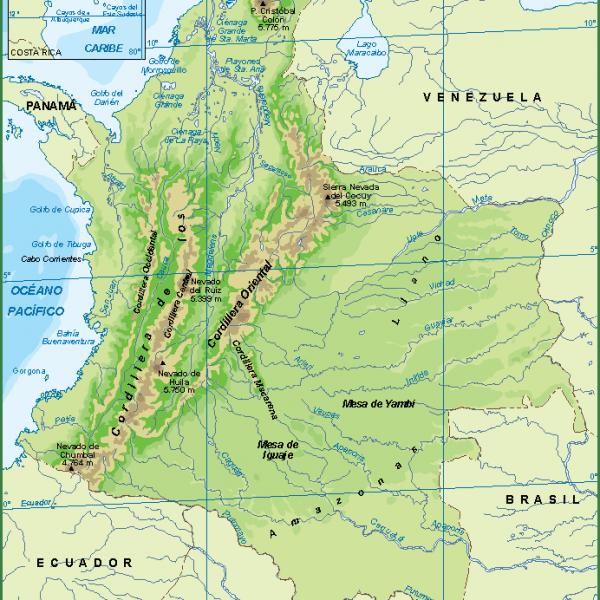 Colombia mapa fisico