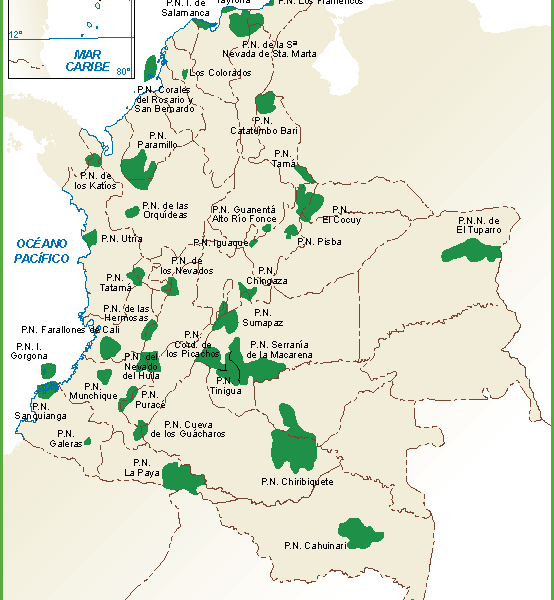 Colombia mapa parques