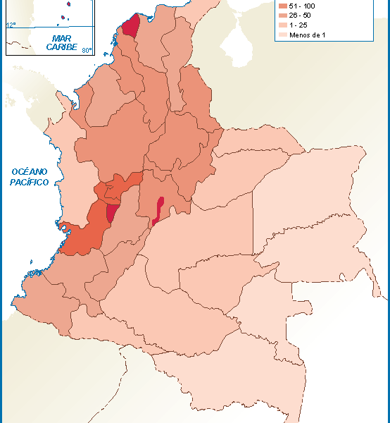 Colombia mapa poblacion