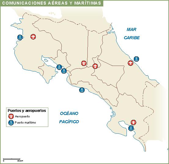 Costa Rica mapa aeropuertos puertos